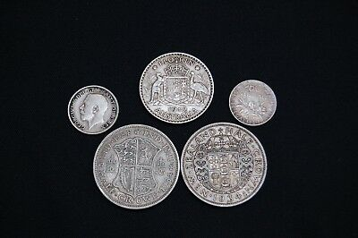 Lot of 5 Assorted Silver Coins Canada Great Britain Australia