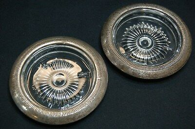 "Pair of Vintage Glass Coasters Sterling Silver Rim - 4""D"