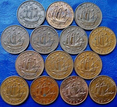 ONE ONLY UK Half Penny, You Choose the Date(s), Elizabeth 1953 to 1967