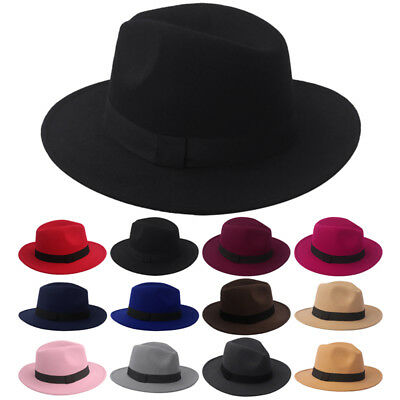 Fashion Womens Ladies Wool Felt Cloche Wide Brim Trilby Fedora Panama Hat Cap UK