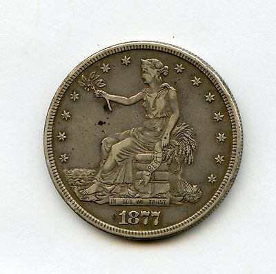 1877-S $1 Trade Dollar Nice Fresh Coin Purchase From Estate Small Rim Nick @ 12