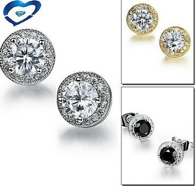 Women Sterling Silver Post Cubic Zirconia Stone 8mm Round Stud Earrings gift Box