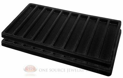2 Black Insert Tray Liners With 10 Slot Each Drawer Organizer Jewelry Displays