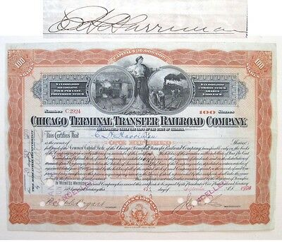 E H Harriman Railroad Tycoon signed Stock 1901