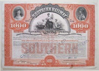 Spectacular Southern Railway $1000 Bond 1922