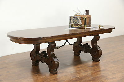 Oak Oval 1930's Vintage Dining or Conference Table, Iron Trestle Base, Spain