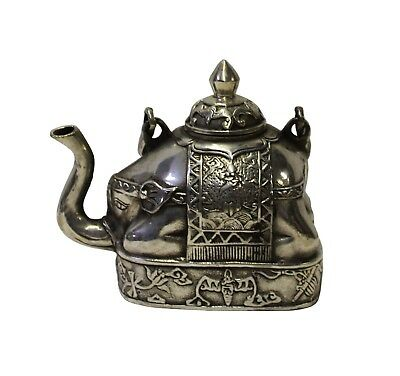 Chinese Handmade Metal Silver Color Elephant Shape Teapot Display cs3393