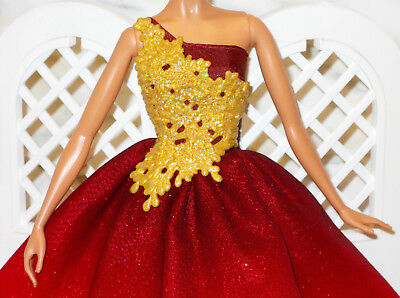 DRESS Barbie 2016 Holiday The Peace Hope Love Collection Gold Red Gown Glitter