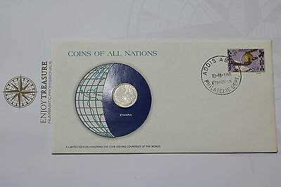 Ethiopia 25 Cents 1969 Coins Of All Nations Cover Frank. Mint A61 #can40
