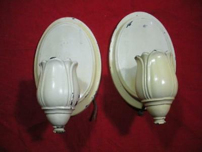Two (2) Antique Vintage Cast Iron Wall Sconce Lights / Take a LOOK!