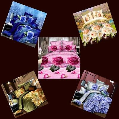 3D Effect Bedding Set (Quilt Cover,Fitted Sheet & Pillowcases) Single Double Bed