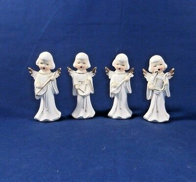 Set of 4 Vintage Ceramic Christmas Angels Musical Trimmed in Gold Made In Japan