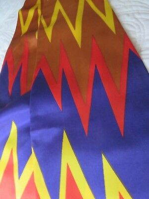 """1960's Nasharr Freres Scarf Long Stole Shape Brown Navy Red Gold Chevron 72"""""""