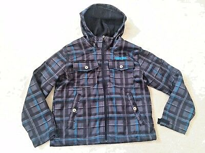 Boys size 8 small Pacific Trail gray & Blue plaid jacket light fleece iined