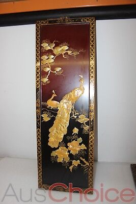 Vintage Oriental Wall Art - Carved Mother of Pearl Peacock & Flowers #2 32x95cm