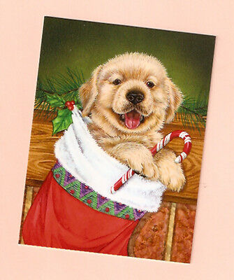 Golden Retriever Puppy Candy Cane Christmas Cards Box of 12 Made in USA