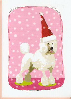 Poodle in Santa Hat Christmas Cards Box of 8 Made in USA