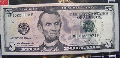 2013 $5 FIVE DOLLARS US GREEN SEAL FEDERAL RESERVE  NOTE aUNCIRCULATED 978F