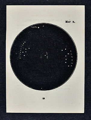 1903 Gall Star Map 3 - Cassiopeia Plough Capella & Vega Polaris Polar Sky Chart