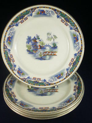 Vintage English Coloured Willow Pattern Style Side Plates Set Of 4