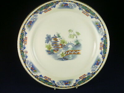Vintage English Coloured Willow Pattern Style Entree Plate