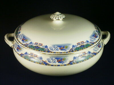 Vintage English Coloured Willow Pattern Style Tureen