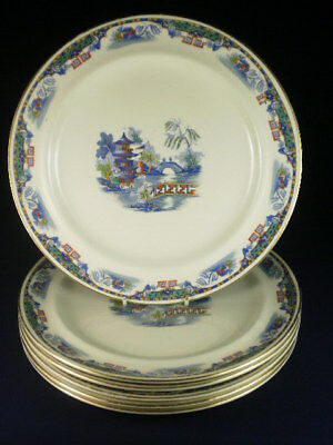 Vintage English Coloured Willow Pattern Style Dinner Plates Set Of 6