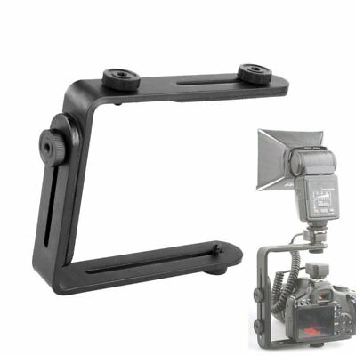 L-shaped Metal Double Dual Flash Bracket Holder Mount or DSLR Speedlite & Camera