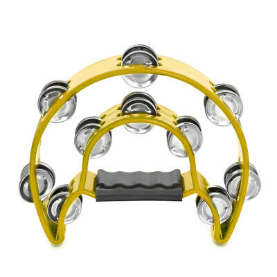 Double Row Jingles Half Moon Musical Tambourine Percussion Drum Yellow Party KTV