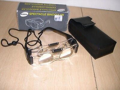 Coil 2 X Tv Magnifying Binocular Glasses Hands Free Visual Aid Spectacles + Case
