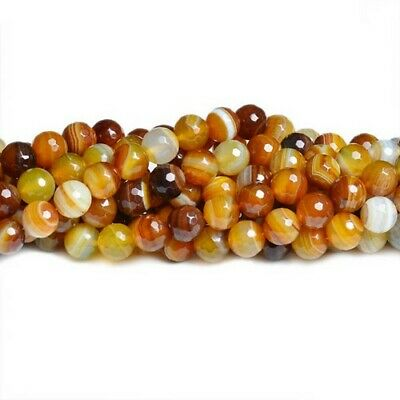 Banded Agate Faceted Round Beads 6mm Yellow 60+ Pcs Gemstones Jewellery Making