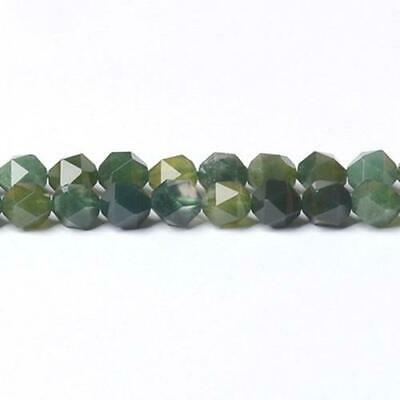 Moss Agate Faceted Nugget Beads 7x8mm Green 45+ Pcs Handcut Gemstones Jewellery