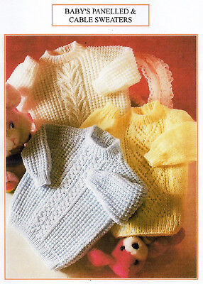 Vintage Baby Knitting Pattern - Panelled & Cable Sweaters - Dk - Laminated