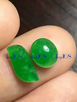 2 pcs 100% Natural A Jade Green Egg Noodles Pendant Ring Earrings Jewelry JD1223