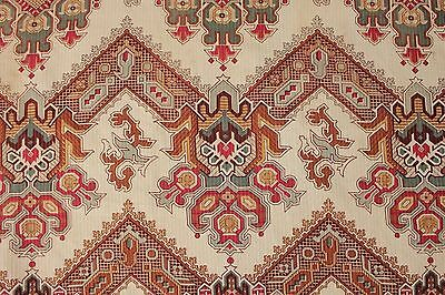 Kilim printed fabric French c 1900 material GORGEOUS design for pillows etc