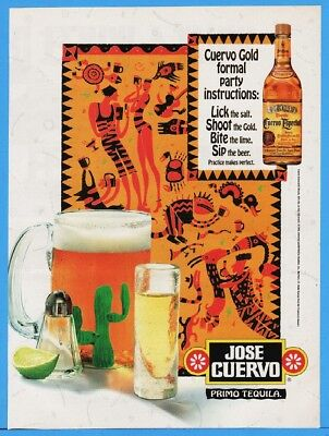 1994 Jose Cuervo Gold Tequila Aztec Picture Writing Hieroglyph Snakebite Beer Ad