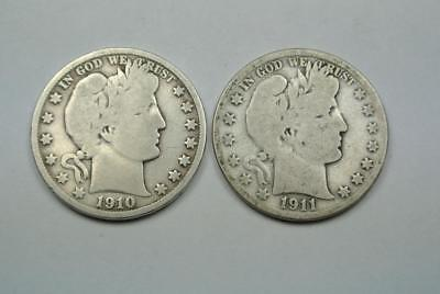 1910-S & 1911-S Barber Half Dollars, Good Condition - C4110