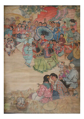 Vintage Chinese Large Cultural Revolution Painting Signed