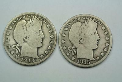 1914-S & 1915-S Barber Half Dollars, Good Condition - C4119