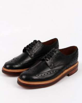 Grenson Archie Gibson Brogues in Black Calf Leather, leather sole