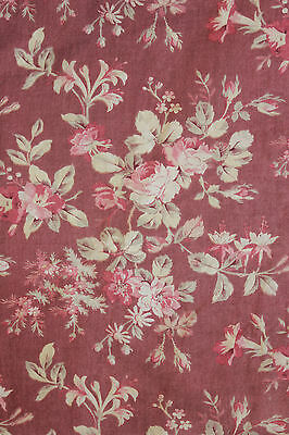 Antique French floral fabric material c1870 sienna ground tone ~ floral ~ lovely