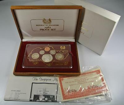 Rare Singapore 6 Coins 1982 Choice Proof Set with Silver $1 - BX30