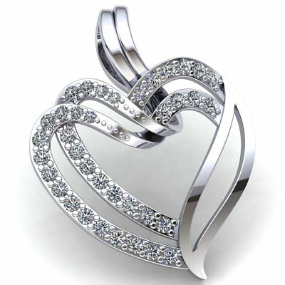 Real 1ctw Round Cut Diamond Ladies Together Couple Heart Pendant 10K Gold