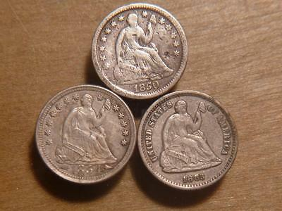 1850-P, 1854-P, 1863-S Seated Half Dimes With Blemishes Circulated..SKU#11865