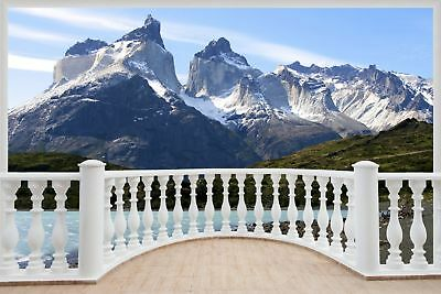 Huge 3D Balcony Exotic Mountain Wall Stickers Mural Decal Wallpaper 31