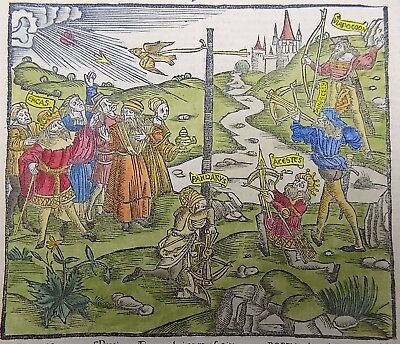 1515 GIUNTA EDITION of VERGIL woodcut - Aeneas THE CROSS BOW COMPETITION