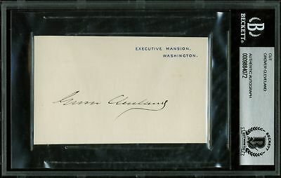 Grover Cleveland Authentic Signed 2.75x4.25 White House Card BAS Slabbed