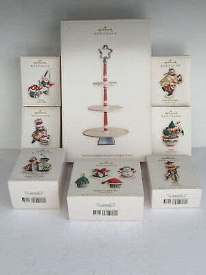 2006 Lot of 8 Hallmark Keepsake MERRY BAKERS Ornaments DISPLAY STAND New In Box