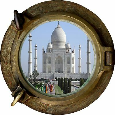 Huge 3D Porthole Taj Mahal View Wall Stickers Mural Film Art Decal Wallpaper 307