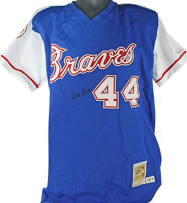 Braves Hank Aaron Authentic Signed Blue Mitchell   Ness Jersey JSA  Y73727 380a1b9f4